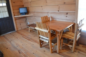 table and chairs inside cabin