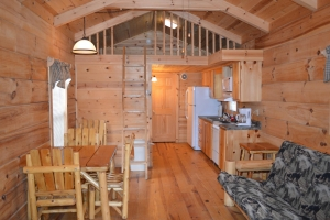 living area of cabin with loft